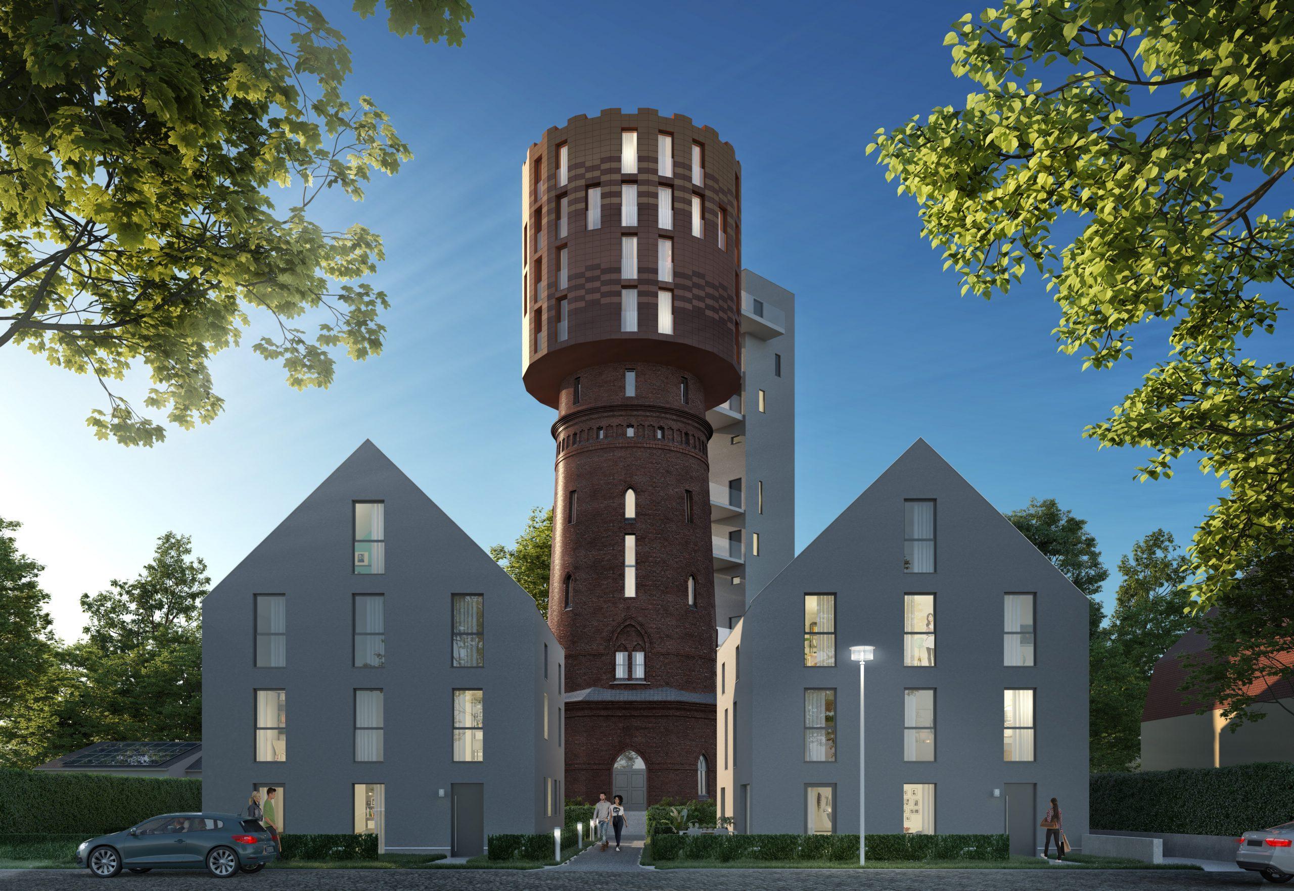 Der Wasserturm in Berlin Altglienicke mit 9 Wohneinheiten und zwei Doppelhäusern mit Garten